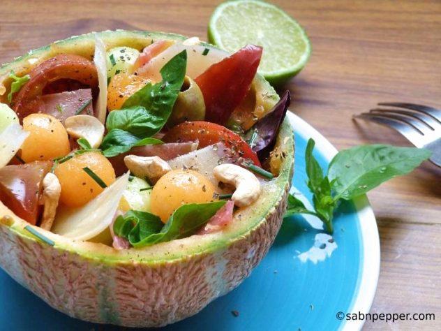 Salade de melon et jambon originale #salade #melon #recette