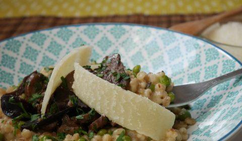 risotto d'orge perlé et champignons