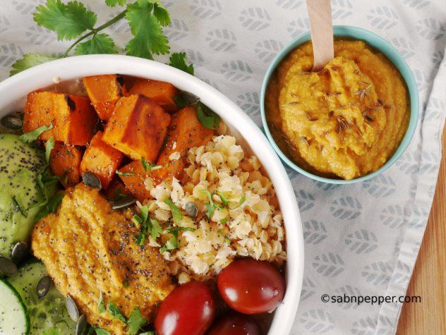 Houmous de carottes et vegan buddha bowl