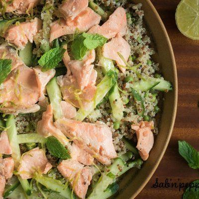 Cette salade de quinoa au saumon, citron vert et menthe régalera les petits et les grands
