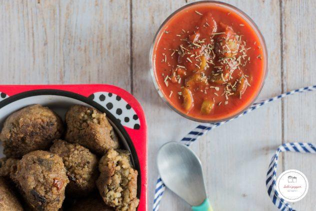 Boulettes d'aubergine : une recette facile 100% healthy. Les enfants adorent! #boulettes #aubergines #veggie #vegan