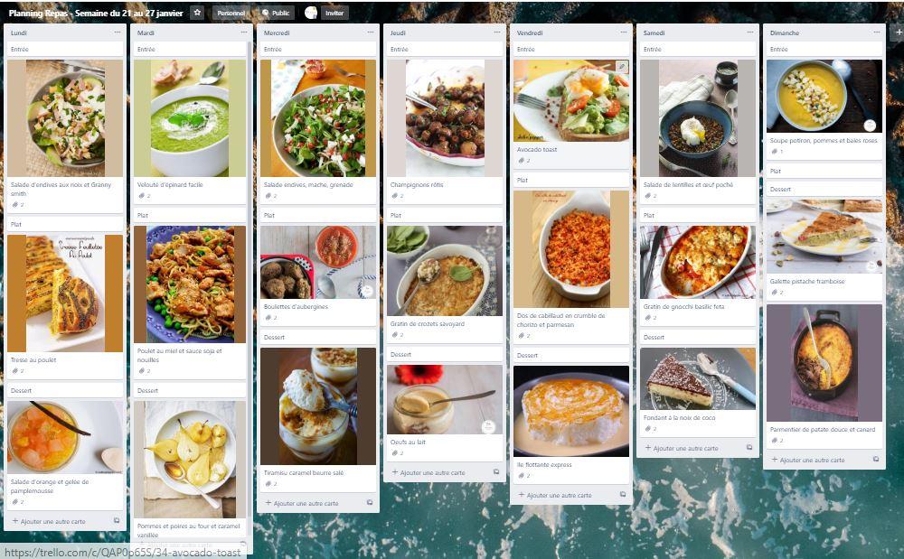 meal-planning-trello : comment s'organiser en cuisine avec trello #mealplanning #mealprep #mealprepping