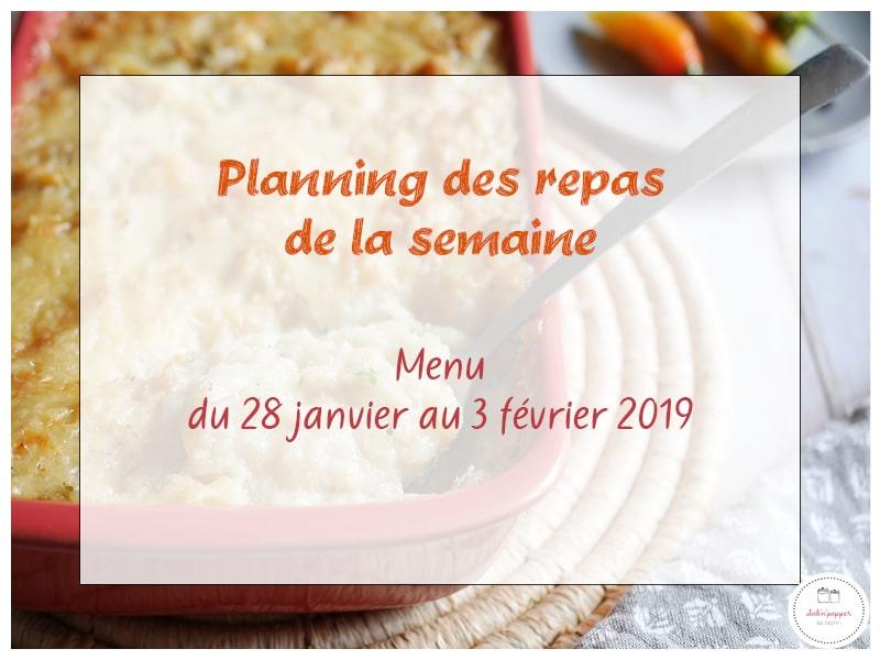 Planning des repas de la semaine 5