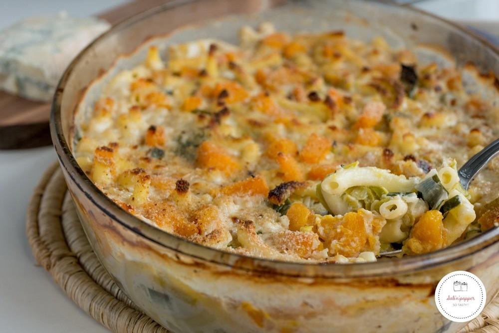 Gratin de macaronis butternut, poireaux, gorgonzola : une recette simple et familiale #recette #recettefacile #macaronis
