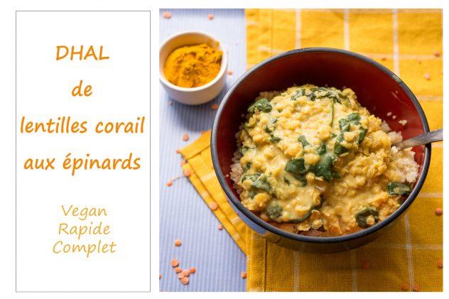 Dahl de lentilles corail au lait de coco et aux épinards : un plat complet, healthy et savoureux #recette #dhal #lentilles corail