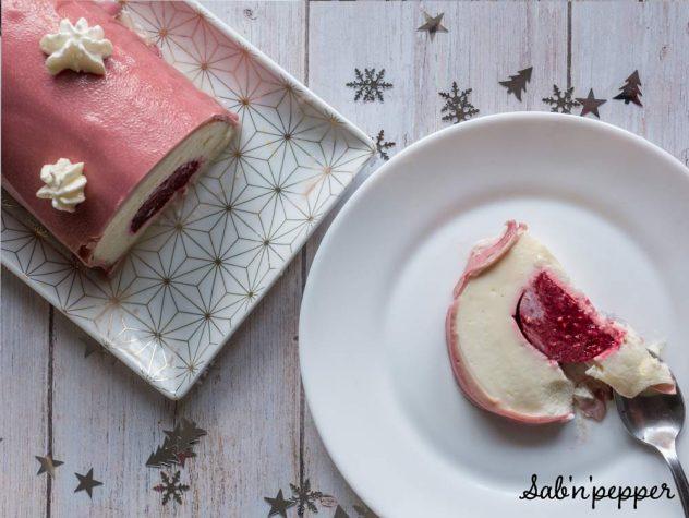 Bûche de noël chocolat blanc framboises : une recette saine et légère #recette#buche #buchedenoel